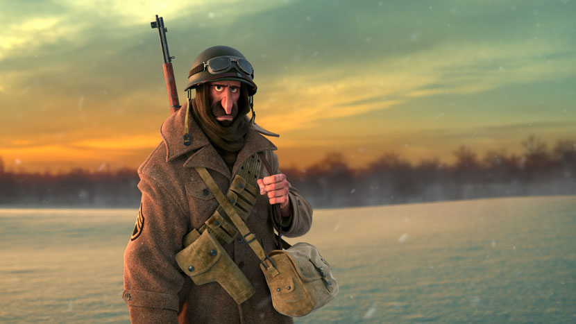 Sergeant in snowy field